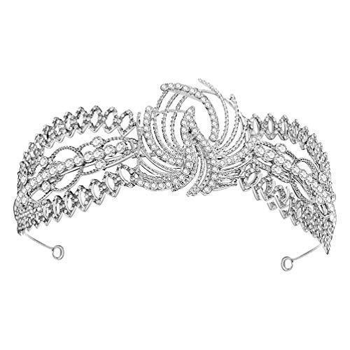 FRCOLOR Tiara de Cristal Nupcial Corona de Hoja Corona de Princesa Diadema...