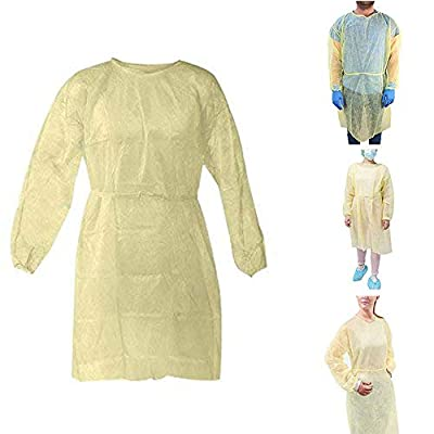 10 Pcs Disposable Isolation Gowns with Elastic Cuffs, Yellow Protective Gowns with Long Sleeves, Neck and Waist Ties, Non-sterile Examination Gowns, Splash Resistant, Latex-Free (10pcs)