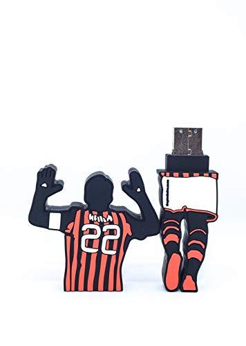 FOOTBALL USB - Chiavetta USB Drive 3.0 con forma di Ricardo Kakà Milan da 32 GB unità di memoria flash Penna Disk Pen Drive alta velocità idea regalo milan