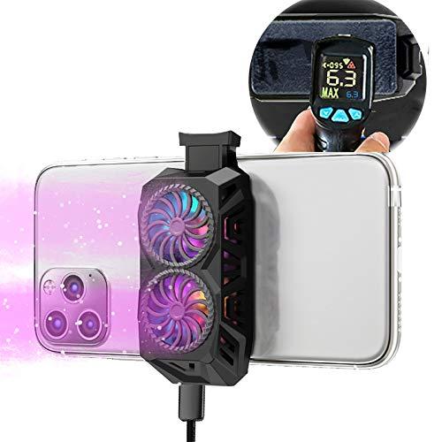 6℃まで下げ ペルチェ素子 ダブルファン付き スマホ冷却ファン 銅ケイ冷却技術 放熱効果倍増 徹夜神器 静音小型 モバイル スマホゲーム クーラー Android/iPhone対応 (黒)