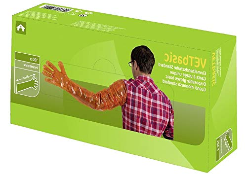 Kerbl 15364 Einmalhandschuhe Vetbasic, 90 cm Länge, 100 Stück, orange