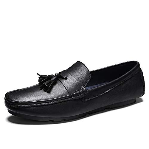 Verano de los Holgazanes de conducción en Zapatos Mocasines grada for embarcaciones en el Cuero Genuino Hecho a Mano de Costura Vamp decoración con la Borla. (Color : Negro, tamaño : 40 EU)