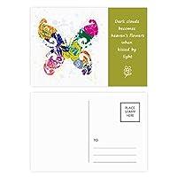 花模様の落書きでカラフルな蝶 詩のポストカードセットサンクスカード郵送側20個