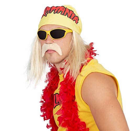 Hulk Hogan Hulkamania Complete Costume Set (Adult Small, Yellow Sunglasses/Yellow Bandana)