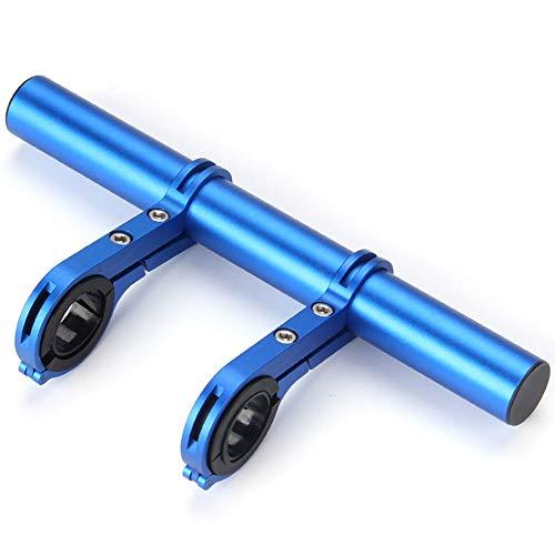 OUYA Soporte De Extensión De Manillar De Bicicleta De Aleación De Carbono/Aluminio con Abrazadera Doble De 30MM para Lámpara De Luz, Montaje En Teléfono, Ahorro De Espacio,Azul,Aluminum