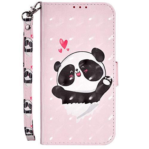 Hpory Kompatibel mit Xiaomi Redmi 7A Hülle, Xiaomi Redmi 7A Handyhülle Foto Muster PU Leder mit Handschlaufe Kartenfach Geldbörse Wallet Case Flip Cover Etui Schutzhülle Handytasche - Liebe Panda