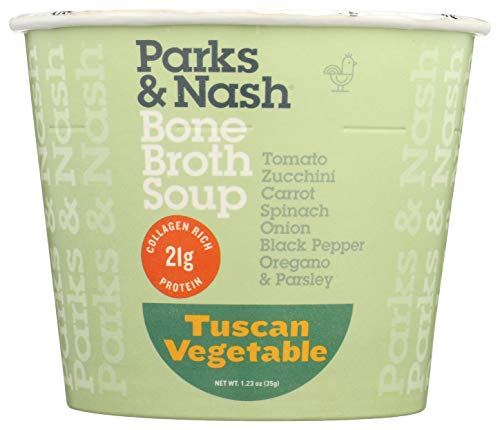 Tuscan Vegetable Chicken Bone Broth Soup by Parks & Nash, 6 PACK, 21g Collagen Rich Protein, All Natural, No Added Sugar, Gluten Free, Dairy Free, GMO Free, No Preservatives