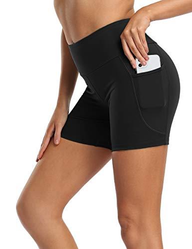 MOVE BEYOND 13cm Pantaloncini Sportivi Donna Fitness con 2 Tasche Laterali Corsa Allenamento Yoga Corti, Nero, M