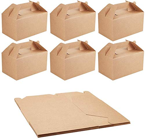 NBEADS 約10個 ギフトボックス クラフト紙製 無地 組立て式 ハンドル付 包装箱 持ち運びが簡単 包装 贈り物 シンプル 小物 ジュエリー収納 ラッピング お菓子ボックス チョコレート ミニギフト ウェディング パーティー 21x13x16.5cm