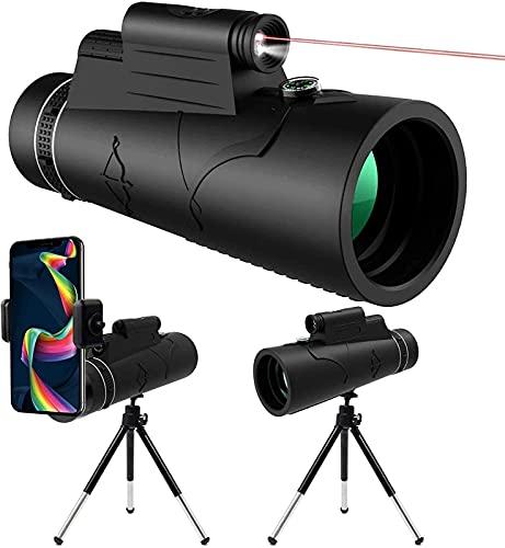 dh-7 Telescopio monocular HD de 12 x 50 con trípode para adultos y niños, observación de pájaros, monocular con linterna LED noche y teléfono