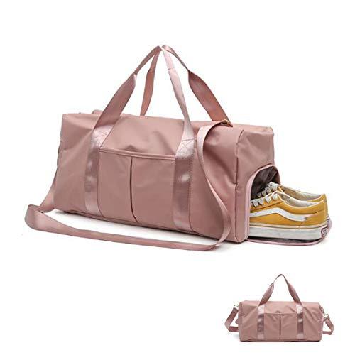 SALUDO Bolsa de Gimnasio, Duffel Bag Mochila Unisex Impermeable, Bolsa de Deporte Separada en Seco y Húmedo con Compartimento para Zapatos para Mujeres y Hombres (Rosa)