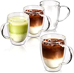 EZOWare Tazas de Cafe de Vidrio Doble Pared, Vasos de Cristal Térmicos con Mango para Bebidas Calientes o Heladas, Café, Lungo, Capuchino, Chocolate, Brandy - Set de 4, 250ml