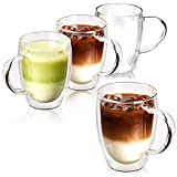 EZOWare Tazas de Cafe de Vidrio Doble Pared, Vasos de Cristal Térmicos con Mango para Bebidas Calientes o Heladas, Café de Leche, Macchiato, Vino, Te - Set de 4, 350ml