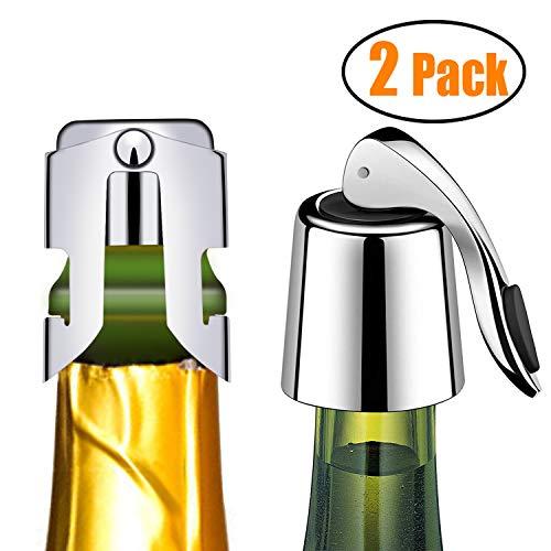 Kimimara Tapón de Vino y Champán, 2 Pcs Reutilizable Tapón de Acero Inoxidable para Botellas, para Mantener el Vino Fresco, Accesorio de Regalo de Vino