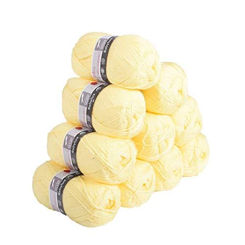 Laines Cheval Blanc - Lot de 10 pelotes de laine BABYLUX (10x50g) 1900m de laine pour bébé 100% acrylique - Laine layette, idéale pour le tricot Bébé