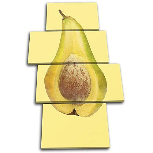 Bold Bloc Design - Pear Avocado Concept Fruit Food Kitchen 160x90cm Multi Tela Art Print Box incorniciato Appeso a Parete Foto - Pronto da Appendere - Canvas Art Print 13-4526(00B)-MP04-PO-C