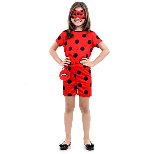 Fantasia Ladybug Curta Infantil 916402-M, Vermelho/Preto, Sulamericana Fantasias