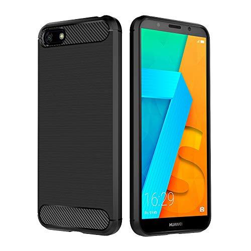 Simpeak Hülle Kompatibel mit Huawei Y5 2018 / Honor 7S, Handyhülle Kompatibel für Huawei Y5 2018 Premium Weiche Silikon Carbon Faser Elastisch Case [Fallschutz] [rutschfest] [Kratzfest] - Schwarz