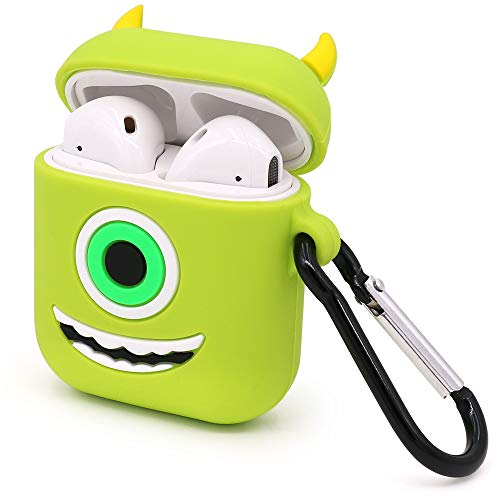 YONOCOSTA Cute Airpods Case, Airpods 2 Case, Funny 3D Cartoon Animals Green Monster Mike Full Protection Funda de Carga de Silicona Suave a Prueba de Golpes con Llavero para Airpods 1 y 2