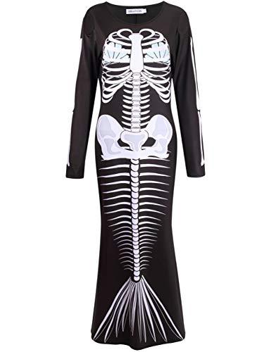 GRACIN Womens Mermaid Skeleton Halloween Costume Adult 3D Printed Maxi Dress with Bones (Medium, Skeleton Mermaid)