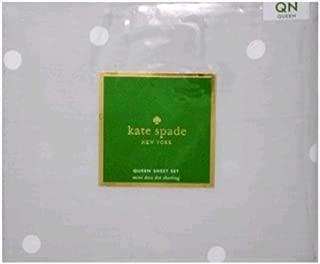 Kate Spade Mini Deco Dot Sheet Set,Queen,Grey/White