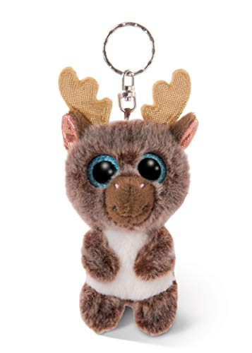 Nici 46615 GLUBSCHIS Cuddly Soft Toy Reindeer Cocoa-Fee, with Keyring, Sweet keeholder, 9cm, Brown