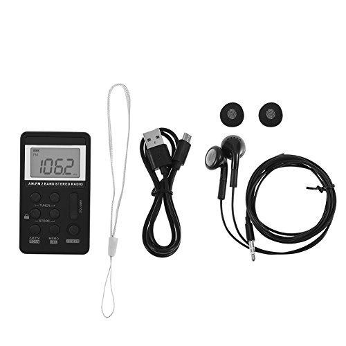 Socobeta Am FM Pocket Radio Mini Radio de Bolsillo estéreo de 2 Bandas con Pantalla LCD Batería Recargable y Auriculares para Caminar al Aire Libre