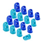 Wisdompro 16 Pcs Finger Tips, 4 Sizes Anti-Slip and Reusable Silicone Fingertip Protector Guard Pads for Paper Sorting, Collating, Sewing, Money Counting, Guitar Playing - Blue, Aqua