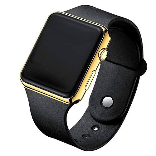 HGJINFANF Moda y simple, mano de obra fina, un buen reloj de hombre electrónico LED digital de moda reloj de hombre reloj electrónico de silicona reloj de mujer (color: negro oro)