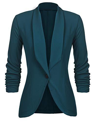 Unibelle Damen Blazer Cardigan Dünn 3/4 Längere Elegant Leicht Bolero Jacke Blazer Slim Fit Anzug Trenchcoat , Aa-dunkelgrün, 40(Herstellergröße:L)