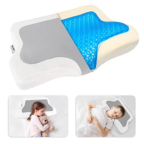 VAlinks Cervical Pillow for Neck Pain, Contour Memory Foam Pillow with Gel, Side Sleepers, Back & Stomach Sleeper Pillow for Toddler Kids, Ergonomic Orthopedic Sleeping Pillow for Pain Relief