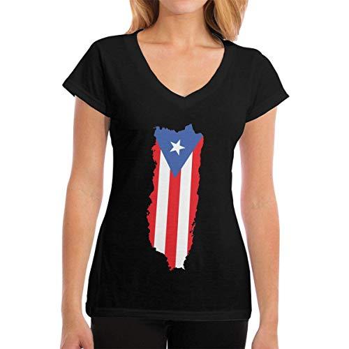 Henrnt Camiseta para Mujer,Top de Camiseta Puerto Rico Flag Women