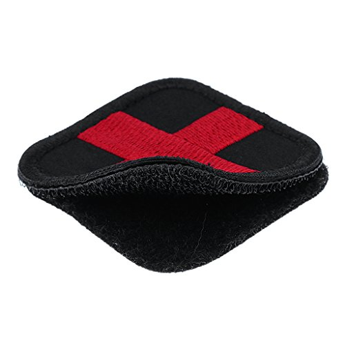 MagiDeal 50 x 50mm Hook & Loop Embroidered Red Cross Medic Patch for Bag Backpack First Aid Kit Pouch - Black, 50 x 50 x 4mm