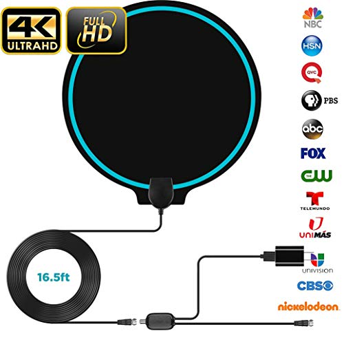 [New Version] Digital Amplified Indoor HD TV Antenna Up to 100 Miles Range HDTV Antenna 4K 1080p VHF UHF Freeview Television Local Channels Detachable Signal Amplifier and 16.5ft Longer Coax Cable