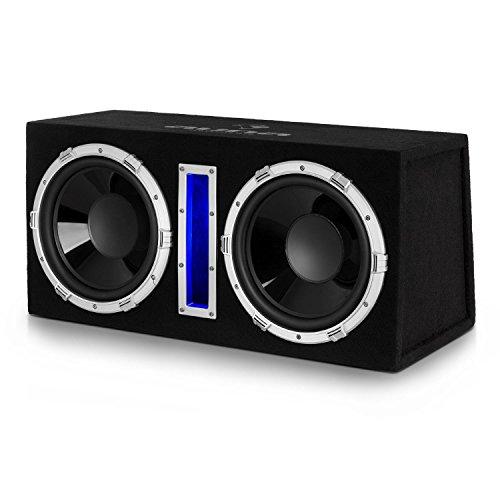 AUNA Basswaver X 10L - Black Edition, Subwoofer Attivo, Subwoofer Auto, Risposta in Frequenza: 50 Hz - 250 Hz, Potenza 2100W, 2 x 25 cm (10  ), Filtro Passa Basso Regolabile, Colore Nero