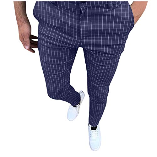 Mens Plaid Print Slim Fit Stretch Flat-Front Skinny Dress Pants Casual Business Trousers Outdoor