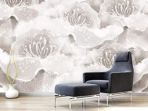 Fondo de pantalla de flor blanca abstracta dibujada a mano Pared Pintado Papel tapiz 3D Decoración dormitorio Fotomural de estar sala sofá mural-430cm×300cm