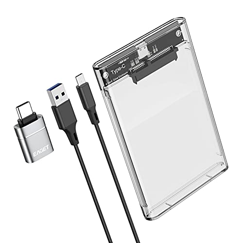 EAGET 2.5 Inch External Hard Drive Enclosure USB C 3.1 to SATA III 6Gbps UASP Transparent Hard Disk Case 7/9.5mm HDD SSD Tool Free Compatible with PC TV PS4 Xbox