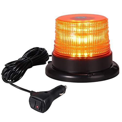 40 W Rotativo LED Luz de Advertencia Indicador Estroboscópico Flash de Emergencia con 5m cable de Mechero y Interruptor para 12V 24V Coche SUV Patrulla Caravana Remolque Camion Tractor
