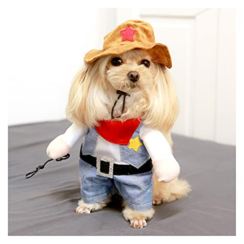 AXTMR Disfraces de Halloween para Mascotas, Divertidos Gatos y Perros Ropa de Dos piernas, Mascota Gato polica Enfermera Disfraz de Guitarra,style13,S