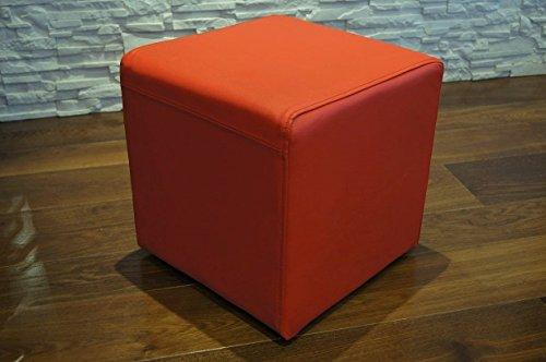 Rot Echtleder Hocker 40x40x40cm Sitzhocker Rindsleder Sitzwürfel Fußhocker Polsterhocker Echt Leder Puff