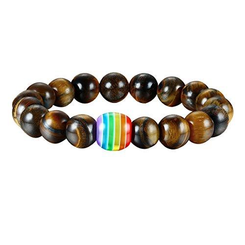 Nanafast Gay & Lesbian Pride Jewelry Rainbow LGBT Bracelet Tiger Eye Stone Bead Bracelets for Men Women
