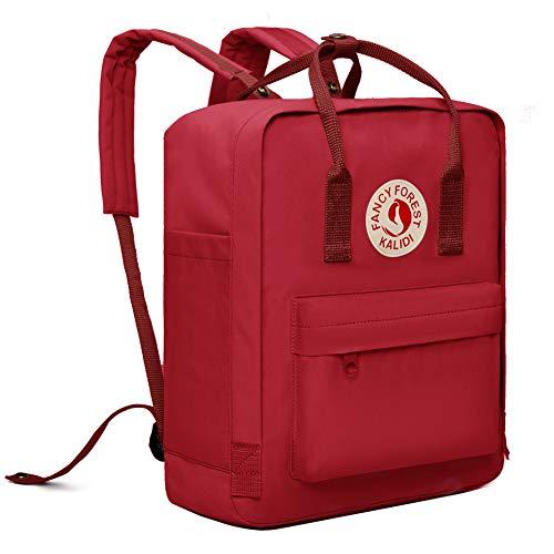 Fancy Forest Rucksack/Daypack Rucksack Mädchen Jungen & Kinder Damen Herren Schulrucksack mit laptopfach für 15 Zoll Notebook,Rot