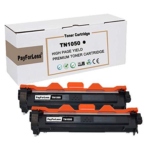 PayForLess TN1050 TN-1050 Cartucho de Tóner Compatible para Brother DCP-1510 DCP-1512 HL-1110 HL-1210W DCP-1612 DCP-1610W HL-1112 MFC-1810 MFC-1910W Impresora (2 Negro)