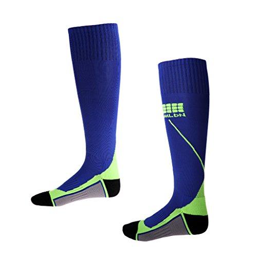 Milageto 1 Par de Calcetines de Compresión Antifatiga, Medias de Apoyo para Correr Fútbol - Azul Oscuro y Gris Verde
