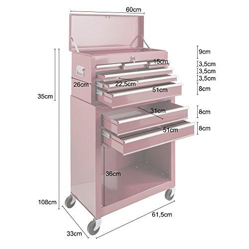 Arebos Werkstattwagen 9 Fächer rot (✓ zentral abschließbar, ✓ Abnehmbarer Werkzeugkasten, ✓ Massives Metall) - 9