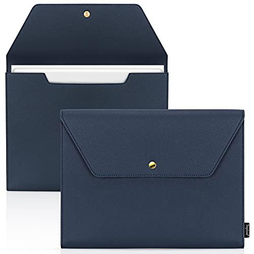 Toplive - Carpeta de documentos A4 de piel sintética, organizador de archivos expandible con doble capa, resistente al agua, con tarjetero y soporte para bolígrafos, color azul