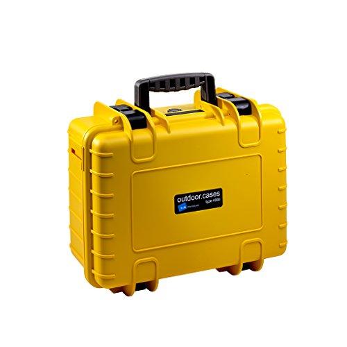 B&W Outdoor Case Hartschalenkoffer Typ 4000 mit Facheinteilung, anpassbar (Hardcase Koffer IP67, wasserdicht, Innenmaß 38,5x26,5x16,5cm, Gelb)