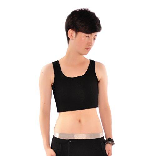 BaronHong Trans Lesbian Tomboy Gummiband Baumwolle Unterwäsche Brust Binder Tank Top (schwarz, L)