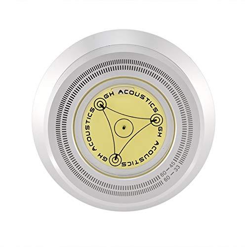 Agatige Estabilizador de Disco Abrazadera Estabilizadora de Grabación de Disco Giratoria de 60Hz con Vibración de Nivel de Burbuja Equilibrada para Reproductor de Discos de Vinilo(Plata)